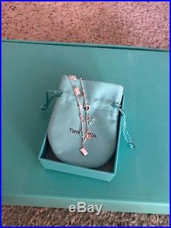 Tiffany & Co Love Notes Sterling Silver Charm Chain Bracelet Blue Enamel Hearts