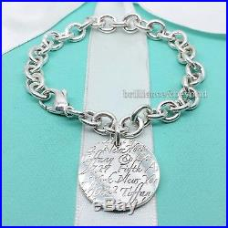 Tiffany & Co. Notes New York Fifth Ave Round Tag Charm Bracelet Sterling Silver