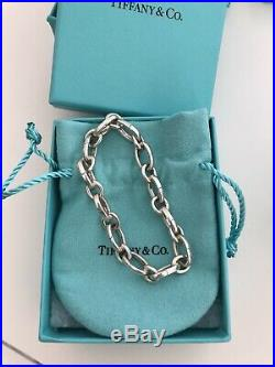 Tiffany & Co Oval Clasping Links 7.25 Adjustable Charm Bracelet Sterling Silver