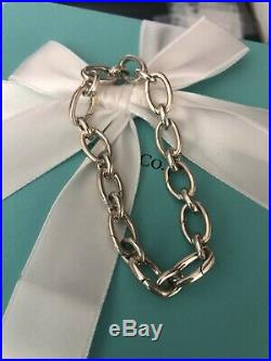 Tiffany & Co Oval Link Clasping Charm Bracelet Sterling Silver 7 Italy