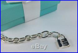 Tiffany & Co. Oval Link Clasping End Link Lock Charm Bracelet 7.5 Silver 925