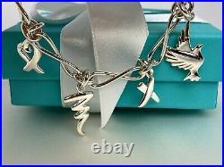 Tiffany & Co. Paloma Picasso Dove Heart Kiss Scribble 4 Charm Bracelet Vintage