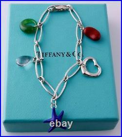Tiffany & Co Peretti Gemstone Charm Bracelet Crystal Lapis Jade Jasper silver