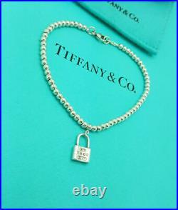 Tiffany & Co. RARE 1837 Silver 3mm Bead mini Lock Padlock Charm 6.75 Bracelet