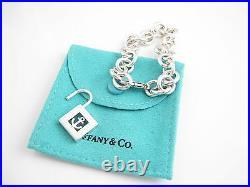 Tiffany & Co RARE Silver Anchor Padlock Charm Bracelet Bangle