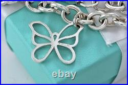 Tiffany & Co. RARE Silver Nature Large Butterfly Charm 7 Bracelet withPackaging