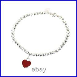Tiffany & Co. Red Return to Heart Tag Charm Bead Bracelet Sterling Silver SV925