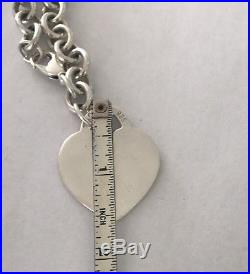 Tiffany & Co. Return To Extra X LARGE HEART Sterling Silver Charm Bracelet 7.5