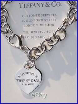 579548b42 Tiffany & Co Return To Tiffany Sterling Silver Heart Tag Charm Bracelet