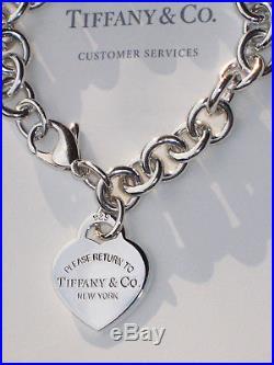 e85742e16 Tiffany & Co Return To Tiffany Sterling Silver Heart Tag Charm Bracelet