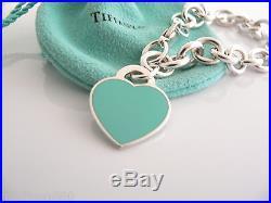 Tiffany & Co Return to Silver Blue Enamel Heart Charm Clasp Bracelet Bangle