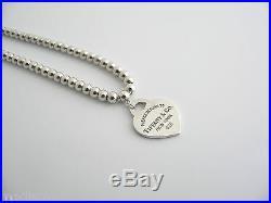 Tiffany & Co Return to Tiffany Silver Heart Mini Ball Bead Necklace Charm Chain