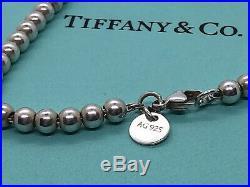 Tiffany & Co. Round Heart Charm Bead Bracelet 925 Sterling Silver Blue Enamel