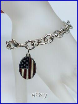 Tiffany & Co Signed AMERICAN FLAG Enamel CHARM Sterling Silver Bracelet