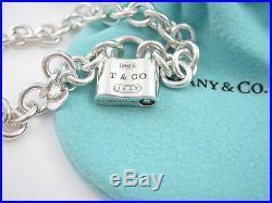 Tiffany & Co Silver 1837 Padlock Charm Bracelet Bangle Box Pouch