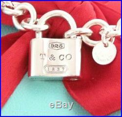 Tiffany & Co Silver 1837 Padlock Charm Pendant Bracelet 7.5