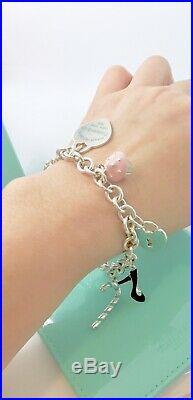 Tiffany & Co Silver 5 Charm Enamel Candy Cane Shoe Heart Toggle Bracelet 7.5in L