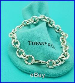 Tiffany & Co Silver 8mm Rolo Round Link Charm Bracelet 7.25 Hallmarked
