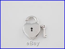 Tiffany & Co Silver 925 Heart Key Hole Padlock Pendant Charm 4 Necklace Bracelet