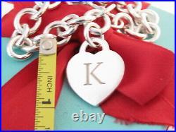 Tiffany & Co Silver Alphabet Letter K Heart Charm Pendant Bracelet 7.5