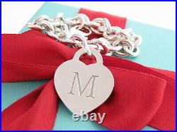 Tiffany & Co Silver Alphabet Letter M Heart Charm Pendant Bracelet 7.125