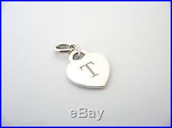 Tiffany & Co Silver Alphabet T Heart Charm Oval Clasp 4 Necklace Bracelet