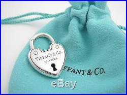 Tiffany & Co Silver Arc Padlock Lock Heart Charm Pendant 4 Necklace / Bracelet