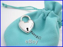 Tiffany & Co Silver Arc Padlock Lock Heart Charm Pendant 4 Necklace Or Bracelet