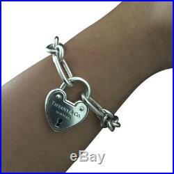 Tiffany Co Silver Arclight Heart Lock Padlock Oval Circle Link Charm Bracelet