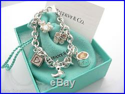 Tiffany & Co Silver Baby Duck Cup Shoes Bear Charm Bracelet Bangle Excellent