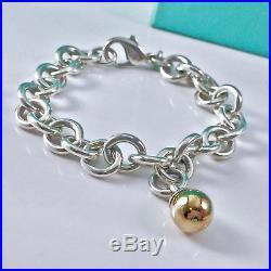 e8b91a63a Tiffany & Co Silver Bangle Bracelet 18k Gold Fascination Ball Charm 7.5L  18416A