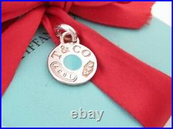 Tiffany & Co Silver Blue Enamel 1837 Circle Charm For Necklace Or Bracelet