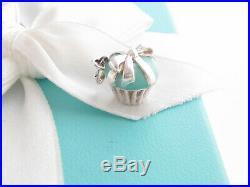 Tiffany & Co Silver Blue Enamel Cupcake Ribbon Charm Pendant 4 Necklace Bracelet