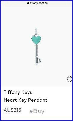 Tiffany & Co Silver & Blue Enamel Heart Key Charm Pendant For Necklace /Bracelet