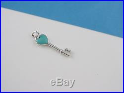 Tiffany & Co Silver Blue Enamel Heart Key Pendant Charm 4 Necklace / Bracelet