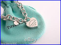 Tiffany & Co Silver Blue Enamel Return to Tiffany Heart Padlock Charm Bracelet