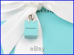 Tiffany & Co Silver Blue Enamel Shopping Bag Charm 4 Necklace Bracelet