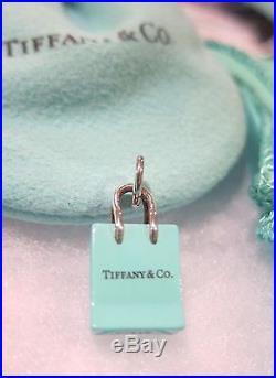 03a0caaba9 Tiffany & Co Silver Blue Enamel Shopping Bag Charm Pendant for Necklace  Bracelet