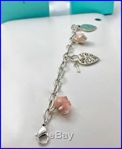 Tiffany & Co Silver Charm Bracelet Enamel Pig Cup Cake I Love You Heart Key 7.5