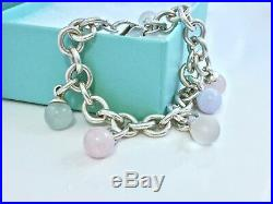Tiffany & Co Silver Fascination Multi Gem Charm Dangle 7.75L Bracelet. 18623F