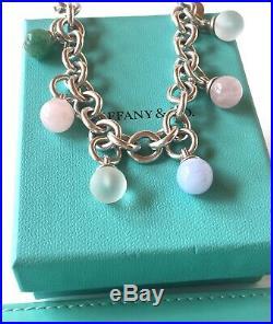 Tiffany & Co Silver Fascination Multi Gemstone Charm Dangle Bracelet 7.25 19082