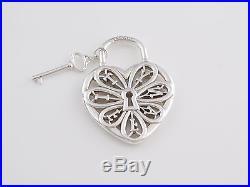 Tiffany & Co Silver Filigree Heart Key Pendant Charm 4 Necklace Bracelet Box