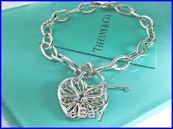Tiffany & Co. Silver Filigree Large Heart Key Charm Bangle Bracelet 7.5in 19025C