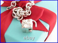 Tiffany & Co Silver Gift Padlock Heart Charm Bracelet 7.5
