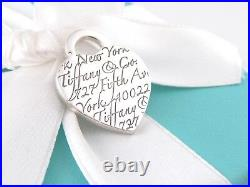Tiffany & Co Silver Heart Fifth Ave Avenue Charm Pendant 4 Necklace / Bracelet