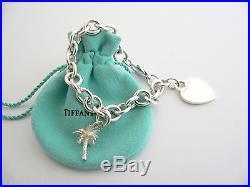Tiffany & Co Silver Heart Palm Tree Bracelet Bangle Charm Pendant Chain Clasp