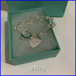 Tiffany & Co Silver Heart Tag Charm 7.87 Inc Bracelet Sterling 925