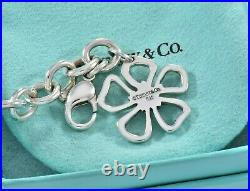 Tiffany & Co Silver Hibiscus Open Flower Charm 7.55 Chain Bracelet and Pouch
