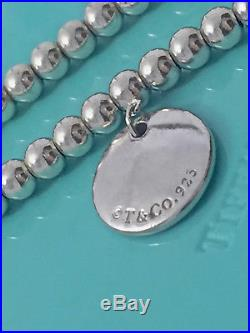 Tiffany & Co Silver I Love You Circle Charm Mini Bead Ball Bracelet 7in 181014B