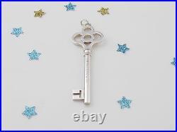 Tiffany & Co Silver Large 2.5 Inch Crown Key Pendant Charm 4 Necklace Bracelet